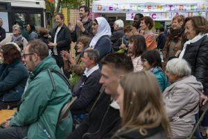 """""""A DEMAIN"""" Le village des centres sociaux sur la place Jean Jaures, à St Etienne"""